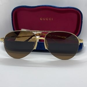 Brand New Latest Gucci Pilot GG0742S Gold/Brown
